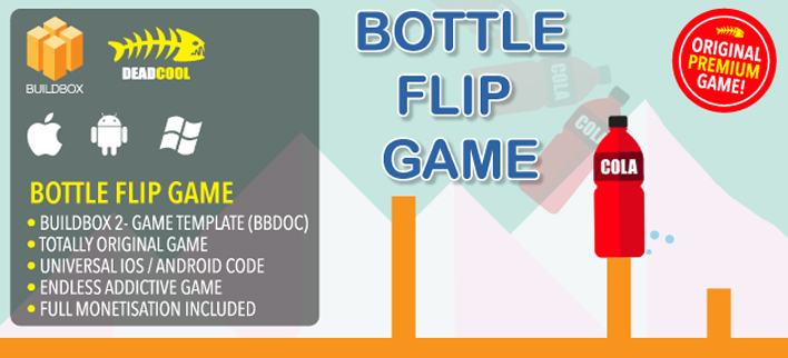 Bottle Flip Challenge Buildbox 2 game template for  reskinning