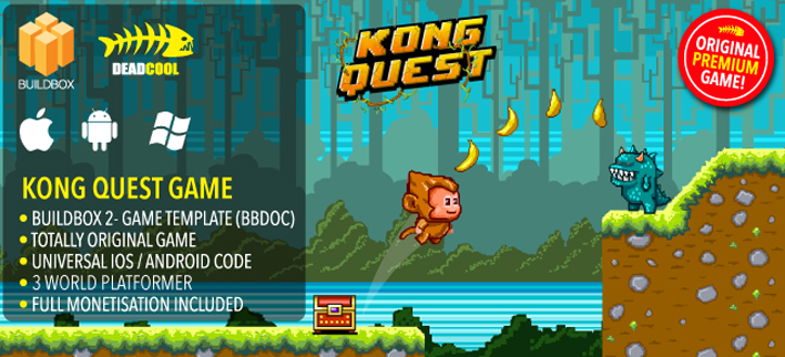 Kong Quest - Build Box 2 Platform Game Template For Reskinning. iOS / Android