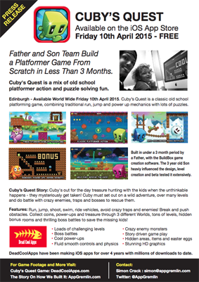 Cuby's Quest Press Release