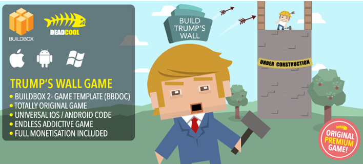 Build Trumps Wall Buildbox 2 game Template For Reskinning. iOS / Android